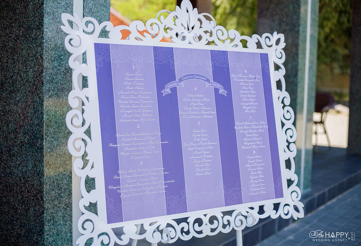 План рассадки гостей написанный декоративным шрифтом Би Хеппи Николаев
