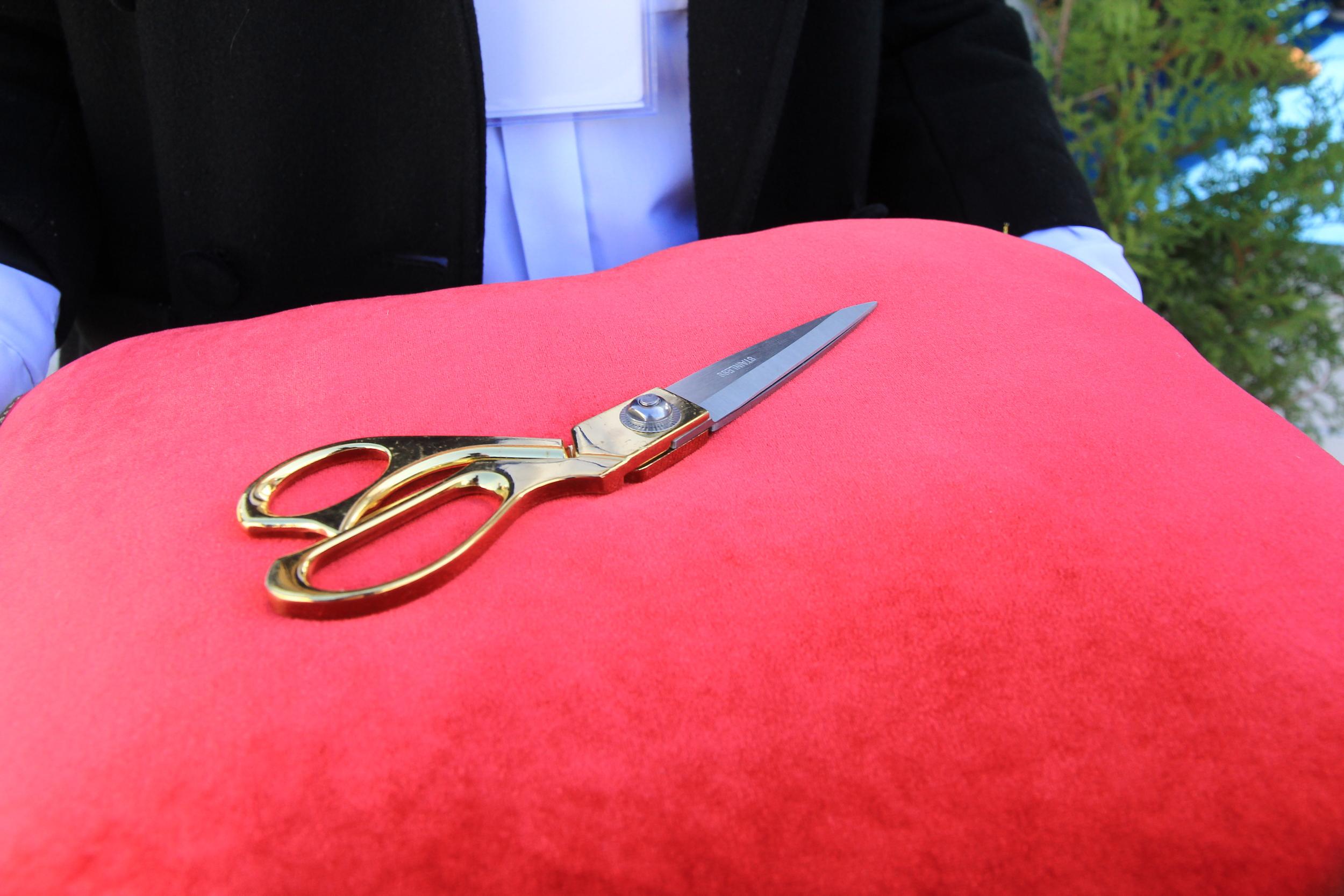 Торжественное разрезание красной ленты ножницами на открытии терминалов UPSS Николаев