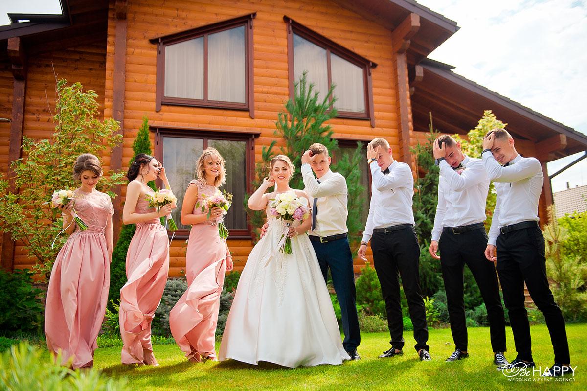 Свадебная фотосессия невеста и свидетели