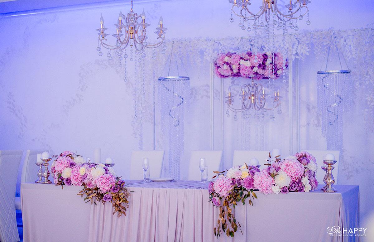 Цветочная композиция из гортензий, роз и орхидей стол молодоженов