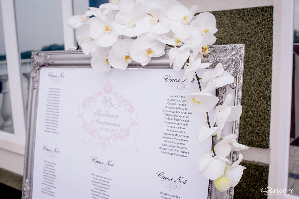 План рассадки гостей на свадьбе с белыми орхидеями