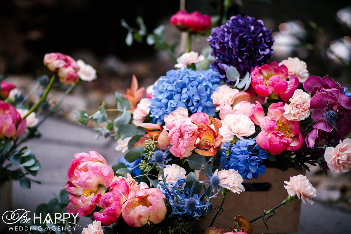 Гортензии, живые орхидеи и розы свадебная флористика бихеппи