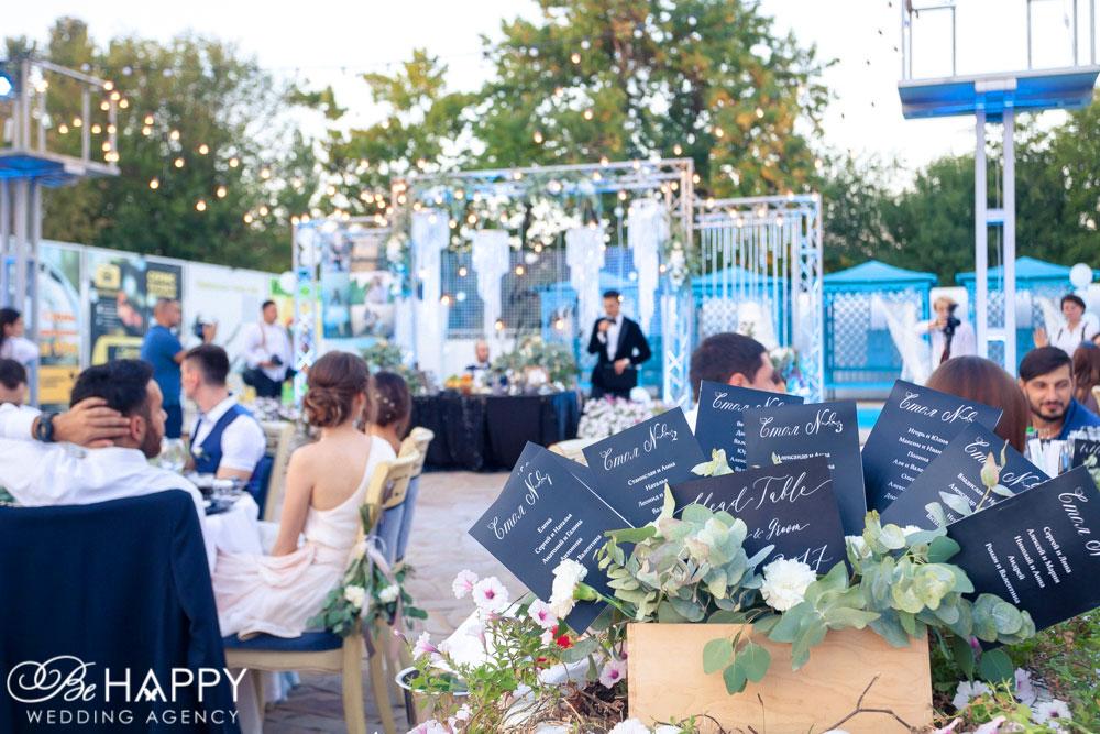 Таблички с именами гостей и номерами столиков свадьба Николаев