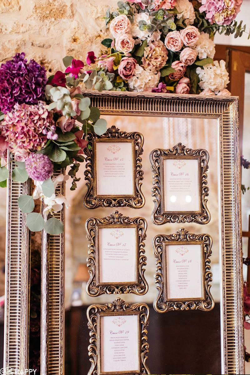 Список гостей на свадьбе в декоративных рамках
