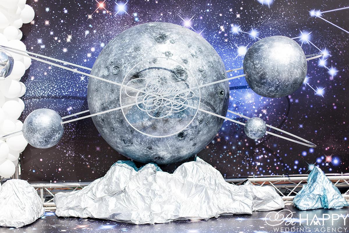 Уникальная космическая декорация с именем детский день рождения бихеппи