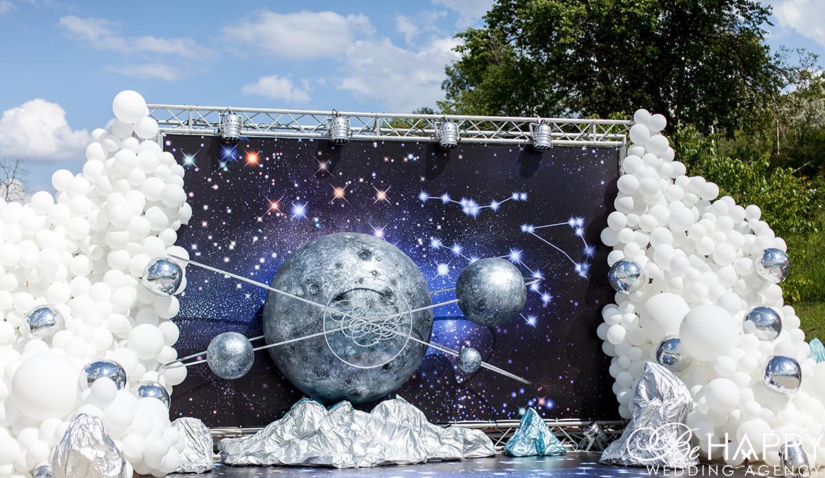 Фото космической декорации и воздушных шаров Бихеппи декор