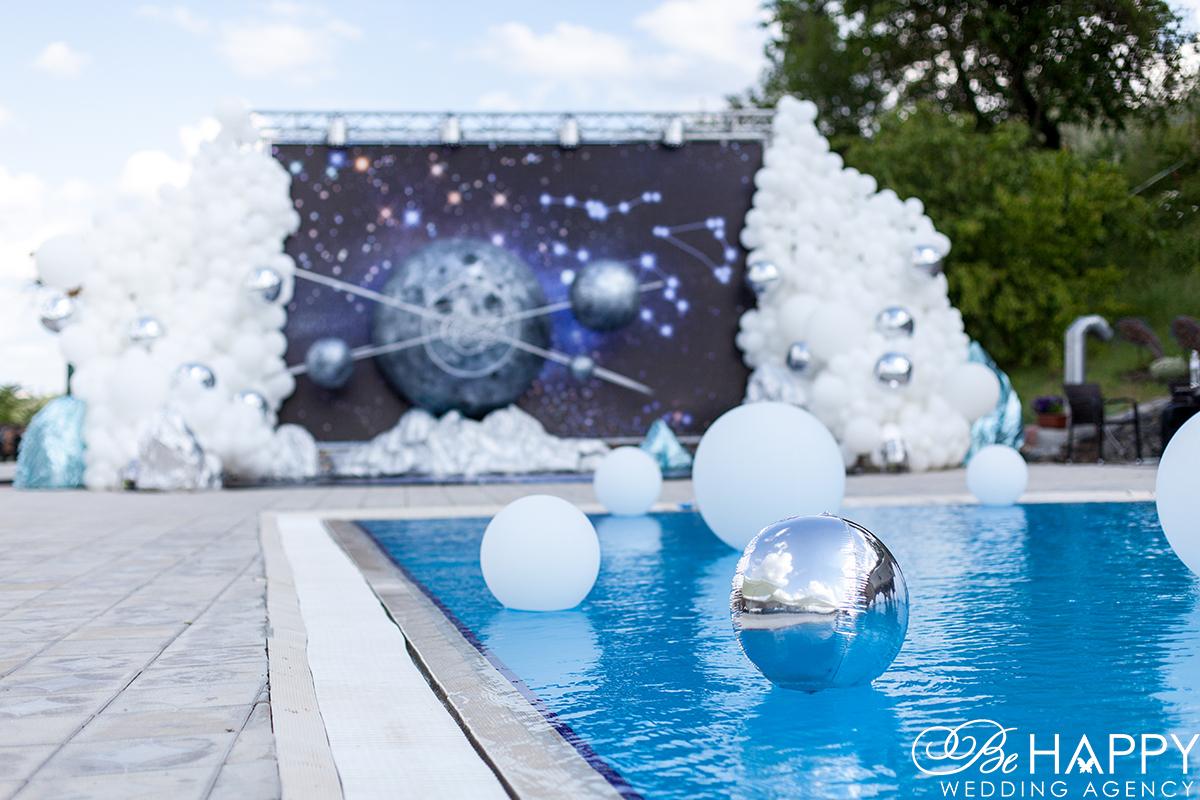 Фото воздушных шаров плавающих в бассейне