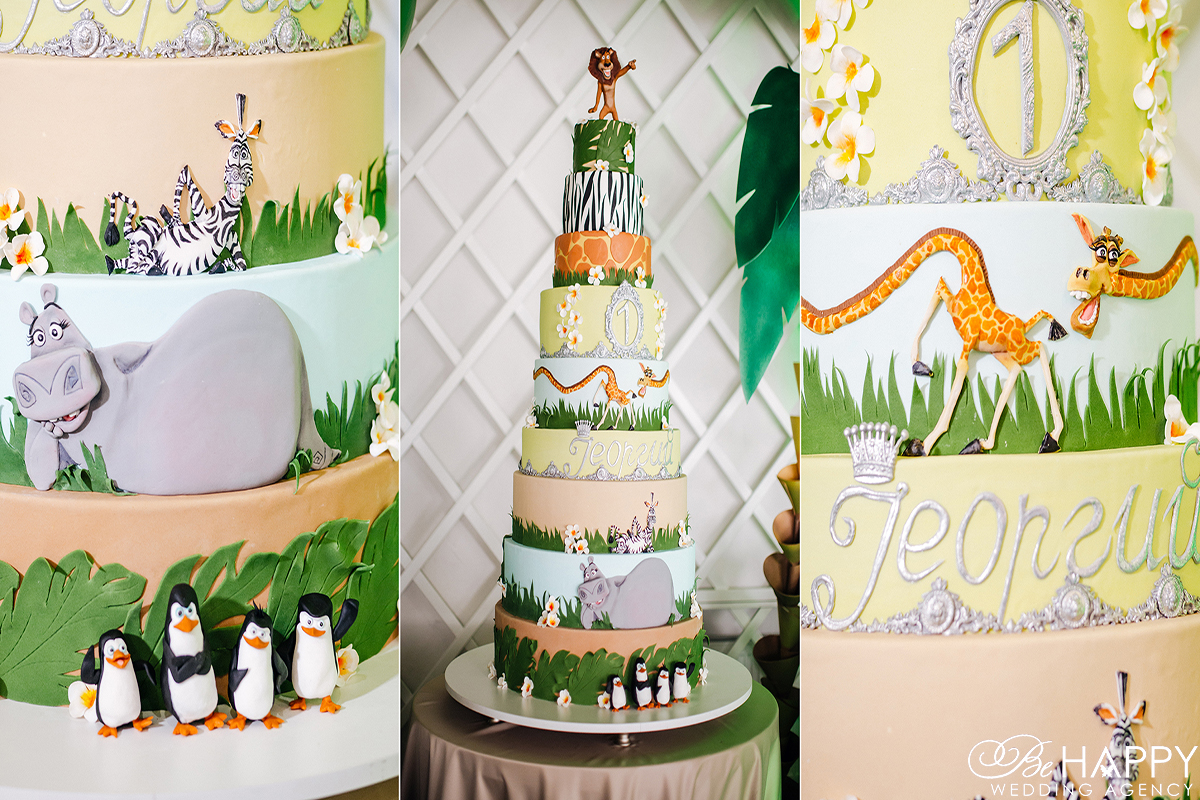 Праздничный торт в стиле мультфильма Мадагаскар Be happy agency